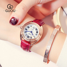 GUOU Top Luxury Brand Watch Women Leather Casual Watches Roman numerals Vintage style Ladies Quartz Wristwatch relogio feminino биойогурт активиа персик личи киноа 2 9