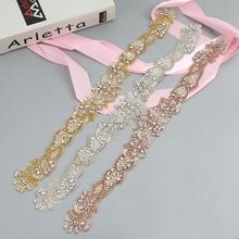 YANSTAR Handmade 1PCS Rhinestones Appliques Sewing On Wedding Dresses Belt Rose Gold Crystal DIY Bridal Accessory
