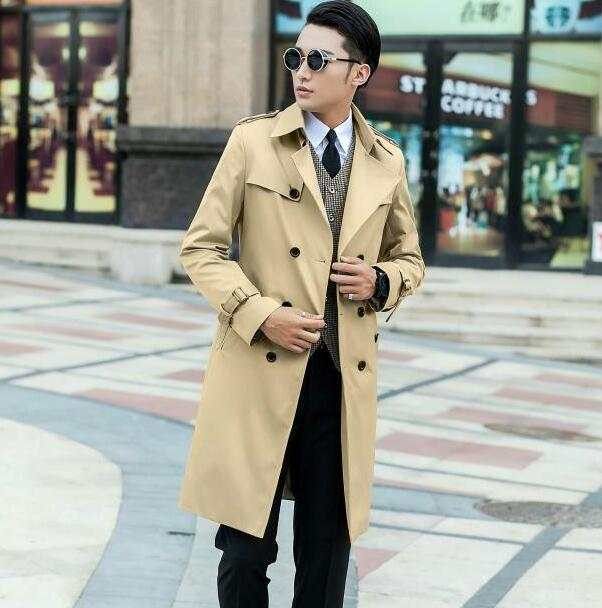 pretty nice 76e2d 319fa US $85.02 22% OFF|Black blue beige 2019 slim sexy long trench coat men  british fashion double breasted mens trench coat overcoat plus size 8XL  9XL-in ...