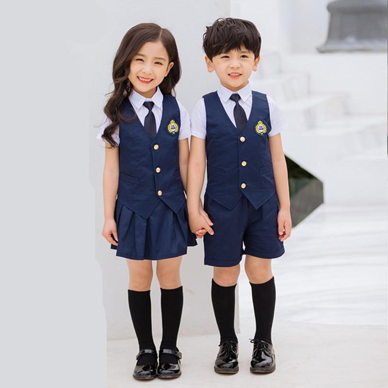 Navy School Suits for a girls Children Summer kindergarten Primary School  Uniform For boys Shirt Skirt Shorts 5 Pcs Set clothes|School Uniforms| -  AliExpress