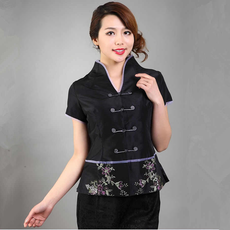 Black Chinese National Embroidery Sequins Women Shirt Summer New Satin Blouse Classy Flower Clothing S M L XL XXL XXXL WS035