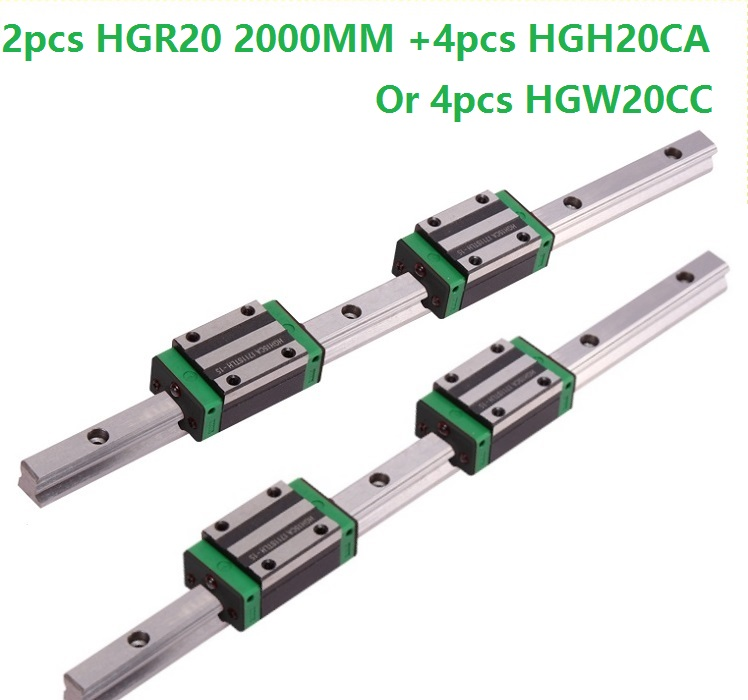 2pcs linear guide rail HGR20 - 2000mm with 4pcs HGH20CA Or HGW20CC linear Carriage block for cnc parts 2pcs linear guide rail HGR20 - 2000mm with 4pcs HGH20CA Or HGW20CC linear Carriage block for cnc parts