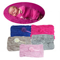 Newborn Stretch Cheesecloth Baby Wrap Flower Headband Photography Photo Props