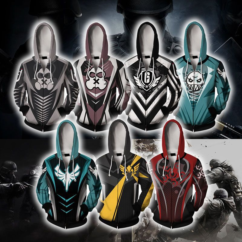 Rainbow Six Siege 3D Print Hoodie Men/Women Zipper Hood Sweatshirts Boys Blue Tops Clothes Tracksuits