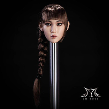 DIY 1/6 Suntan/Pale Head Sculpt Asian Female Head Sculpt Model with Braid for Pichen Body Firgure 1 6 scale kobe head sculpt basketball star head carving model toys sotoys so 13
