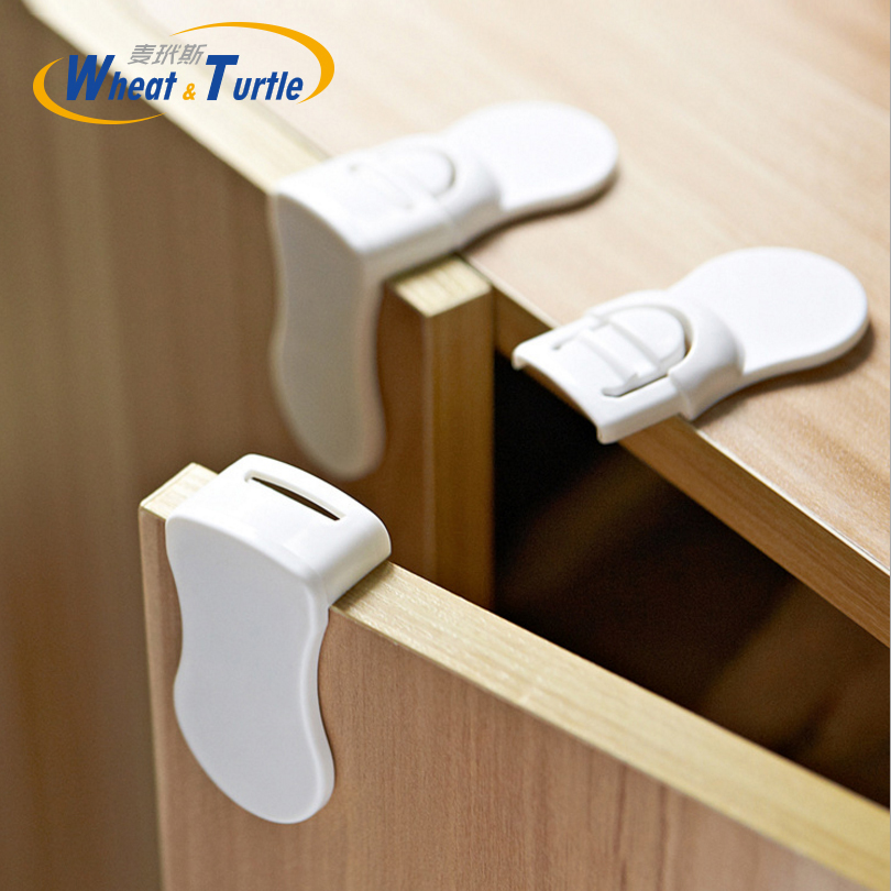 ABS Baby Children Care Safety Lock Double Snaps Right Angle Lock For Drawer Cabinet Fridges Infant Safety Protect Lock