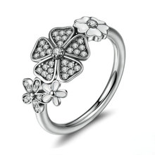 Huitan Simple Stylish Women Ring Full Of Flower Micro Paved For Girl Silver Plated With Size 6-10 Factory Selling