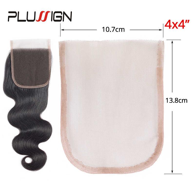 Plussignature 2X4/2X6/4X4 السويسري الدانتيل نمط صافي لصنع شعر مستعار الشعر المستعار أعلى إغلاق مؤسسة إكسسوارات الشعر أحادية 3 أحجام