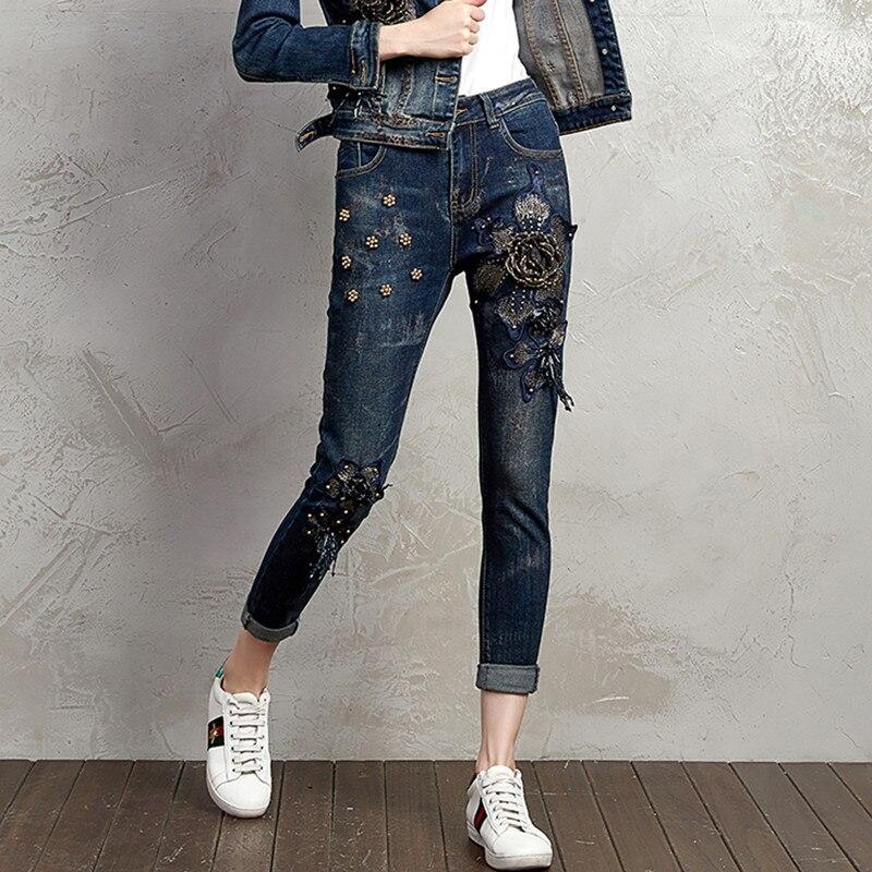 Estilo Moda Lujo Denim Lentejuelas Skinny Lápiz Vaqueros Cuentas Pantalones Streetwear Mujer 0933 Elástico De Jean Flores Vintage w4Yt70