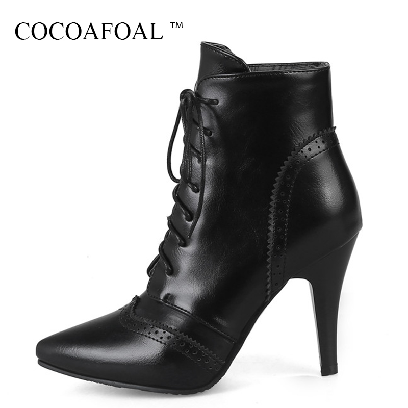 цена на COCOAFOAL Woman Fashion Sexy White High Heeled Shoes Winter Chelsea Ankle Boots Plus Size 33 43 Black Lace Up Punk Martin Boots
