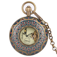 Retro Vintage Mechanical hand winding Mechanical Pocket Watch Men Luxury Fob Watches with Chain Blue Color Carving Unisex Gifts