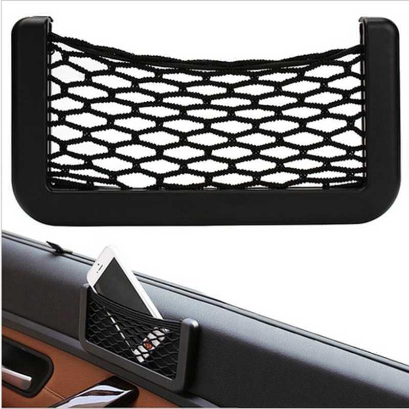 Filet de voiture sac organisateur de voiture filets 15X8 cm automobile poches avec visière adhésive voiture Syling sac stockage voiture pour outils téléphone Mobile