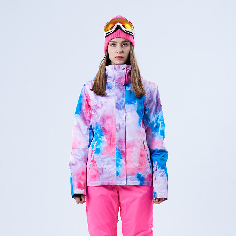 Gsou snow winter and new style ski wear, female windproof, warm outdoor climbing, pink ski suit