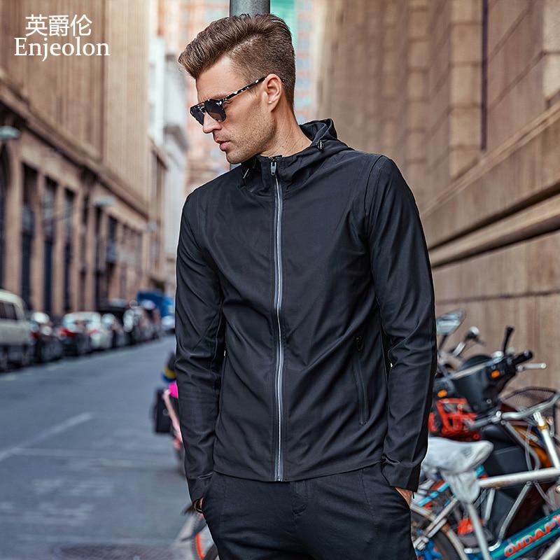 Enjeolon modni Bomber hoodies jakne muške kapuljačom crne čvrste - Muška odjeća