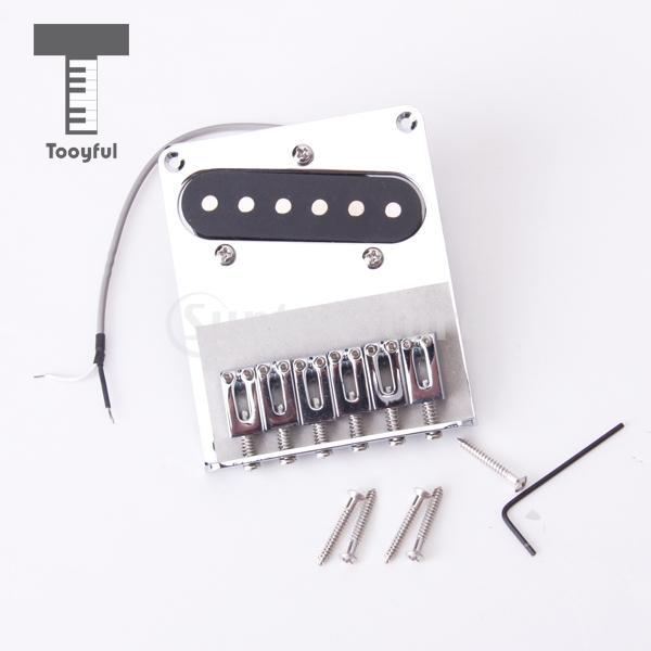 Tooyful High Quality Chrome 6 Zinc Alloy Saddle String Bridge Pickup Accessory for Fender Telecaster Electric Tele Guitar Silver