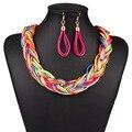 De cuero de moda choker declaración marca de lujo de cuero tejida a mano de la joyería bohemia multicolor collares aretes con