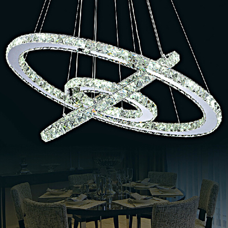Modern crystal pendant light circle suspension dining room for Lustre 3 suspensions