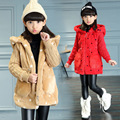 2016 Girls fur splice wool sleeves coat Korean winter solid color little jacket of children's clothing