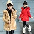 2016 Meninas de pele splice mangas do casaco de lã de inverno Coreano cor sólida pequena jaqueta de roupas infantis