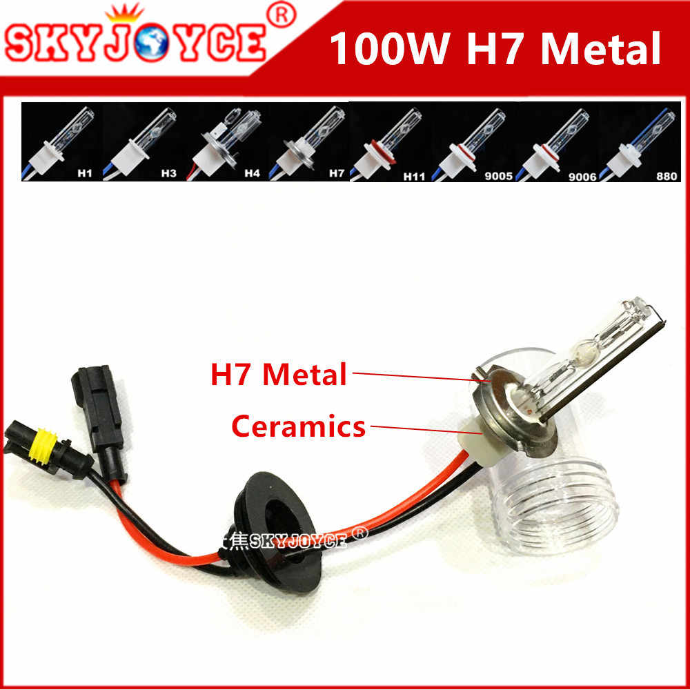 SKYJOYCE 2PCS hid 100W H1 high power 100W hid bulb H4-2 100W hid kits h7 100w H11 D2H D2Y D2S 880 ceramics holder 4300K-10000K