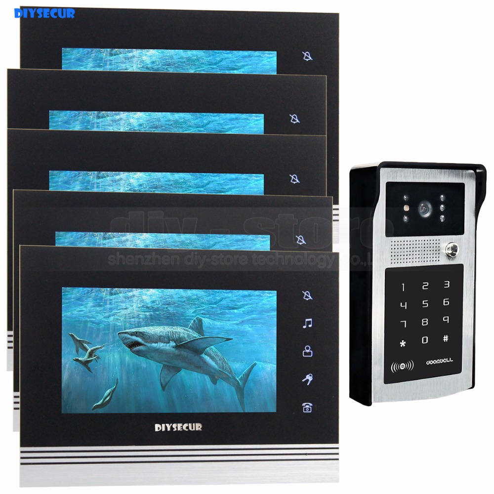 DIYSECUR 7 inch Touch Button Video Door Phone Intercom Doorbell IR Night Vision HD 300000 Pixels RFID Keypad Camera 1V5 какую машину до 300000 рублей в муроме