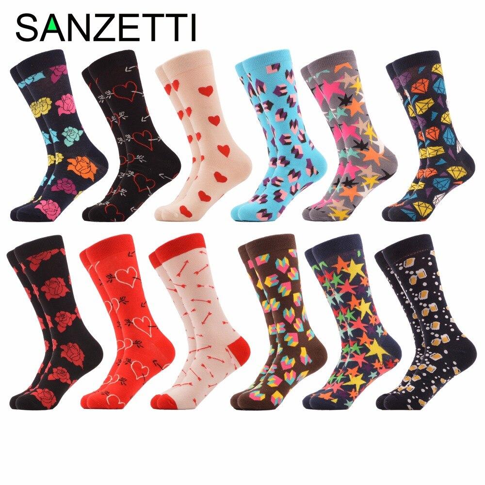 SANZETTI 12 pairs/lot Funny Mens Bright Colorful Combed Cotton Dress Sock Rose Love Diamond Dozen Packs Casual Happy Crew Socks