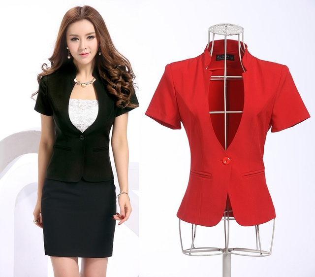 6508f799ab New Elegant Fashion Formal Blazer Feminino Uniforms 2015 Spring Summer  Business Work Wear Blazers Jackets Coat Tops Blaser S-3XL