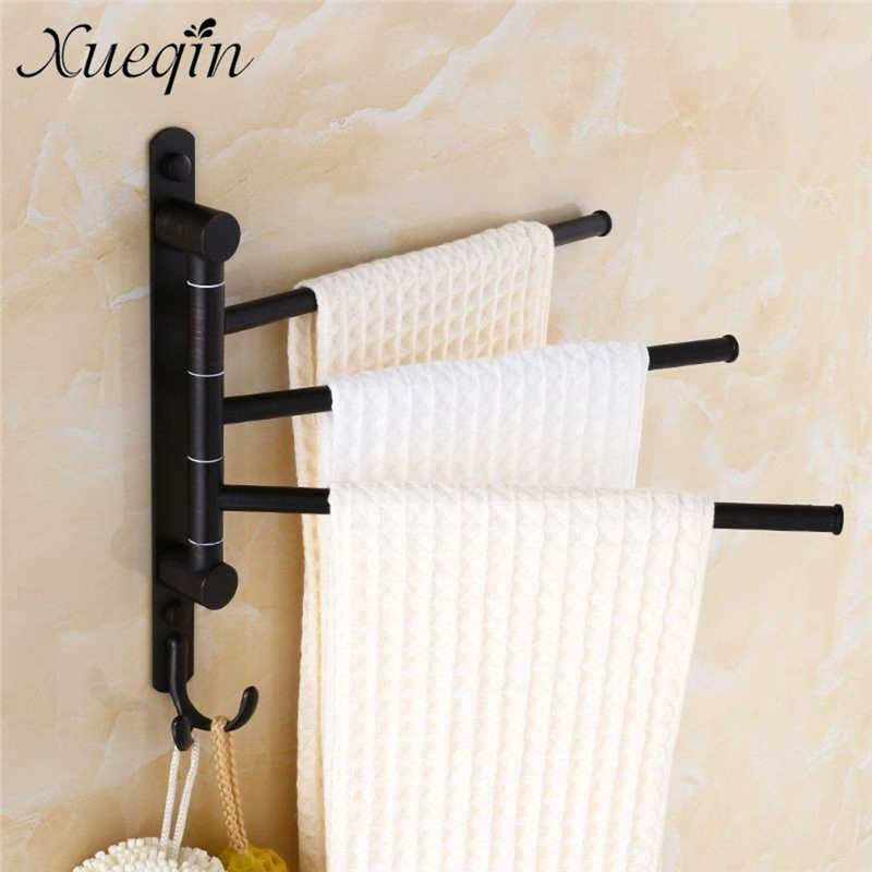 Xueqin Oil Rubbed Bronze Swing Out Towel Racks for Bathroom Towel Hanging Holder Wall Mounted Towel Bars with Hooks 3-Arm xueqin 56x7 2x3 5cm bathroom towel racks double towel rack wall mounted space aluminum towel shelf with hooks bath rails bars