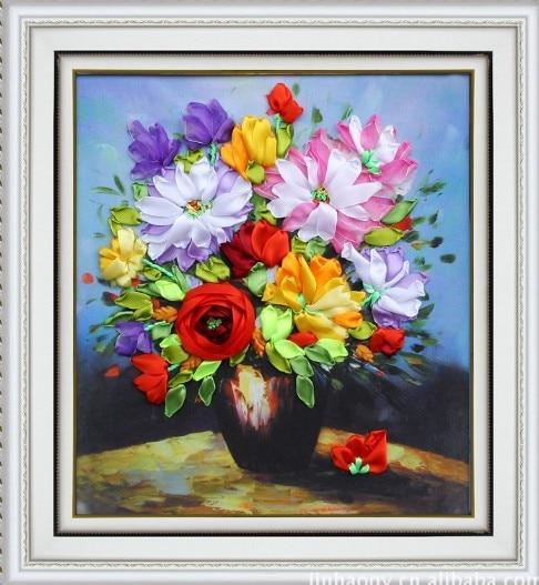 3d Flower Vase Silk Ribbon Embroidery Kit Yellow Daisy Flowers