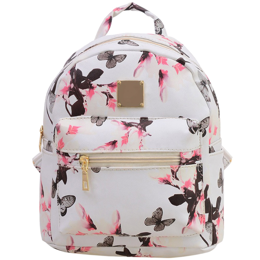 TEXU Schoolbag For Teenagers Girls Butterfly Cute PU Leather Backpack Canvas Flowers Printing Women Backpacks