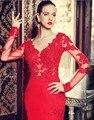 Aure Mario Real Photo Red Sereia Vestido de Noite Com Mangas Compridas Vestidos de Noite Formais Para A Festa de Casamento do baile de Finalistas Vestidos de 03181