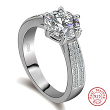 Luxury Female wide Ring solid 925 Sterling Silver Jewelry Vintage promise Rings For Women AAA Zircon Wedding Engagement Rings cheap SexeMara 925 Sterling GDTC Fine Prong Setting Diamond JZ07 ROUND Cute Romantic Wedding Bands CHINA Party Office Valentine s Day Gift Shopping Dating