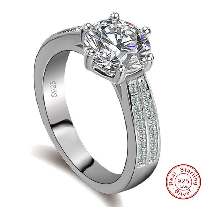 Женское Винтажное кольцо с фианитом, массивное кольцо из стерлингового серебра 925 пробы, обручальные кольца для женщин