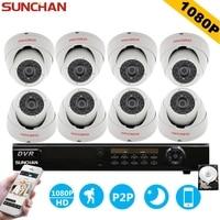 SUNCHAN HD AHD H 1080P 2 0 Megapiexl 8CH AHD CCTV Security Camera System 3000TVL Indoor