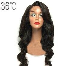Paff Для тела волна Синтетические волосы на кружеве парик человеческих волос для черных Для женщин перуанские волосы предварительно сорвал парик с естественным линии роста волос волосы ребенка не remy