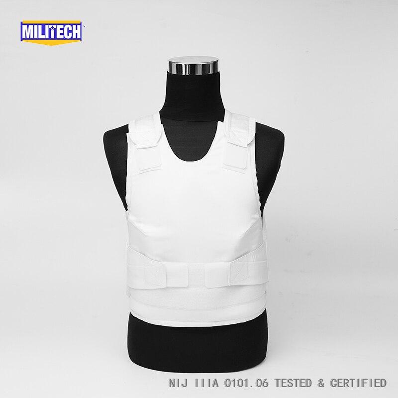 Militech White Female NIJ IIIA 3A Concealable Aramid Kevlar Bulletproof Vest Covert Ballistic Bullet Proof Vest Body Armor Vest