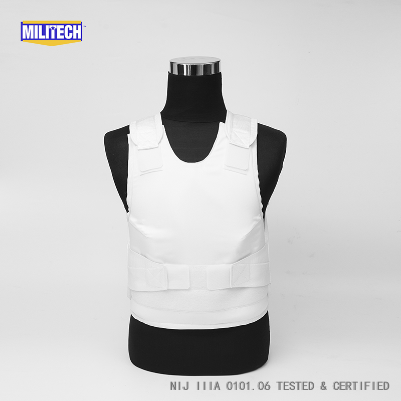 Militech White Female NIJ IIIA 3A Concealable Twaron Aramid Bulletproof Vest Covert Ballistic Bullet Proof Vest Body Armor Vest bulletproof vest military tactical army concealable bullet proof bullet proof vest chaleco antibalas low profile body armor