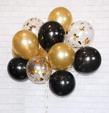 METABLE 50PCS Latex Balloons  for Parties, Anniversaries, Weddings, Decoration, Supply Gold, Black, Clear with Gold Confetti