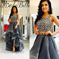 2017 Beaded 2 Piece Prom Dress Crystal High Low Rhinestone Evening Gown Short Front Long Back Two Piece Dress For Graduation