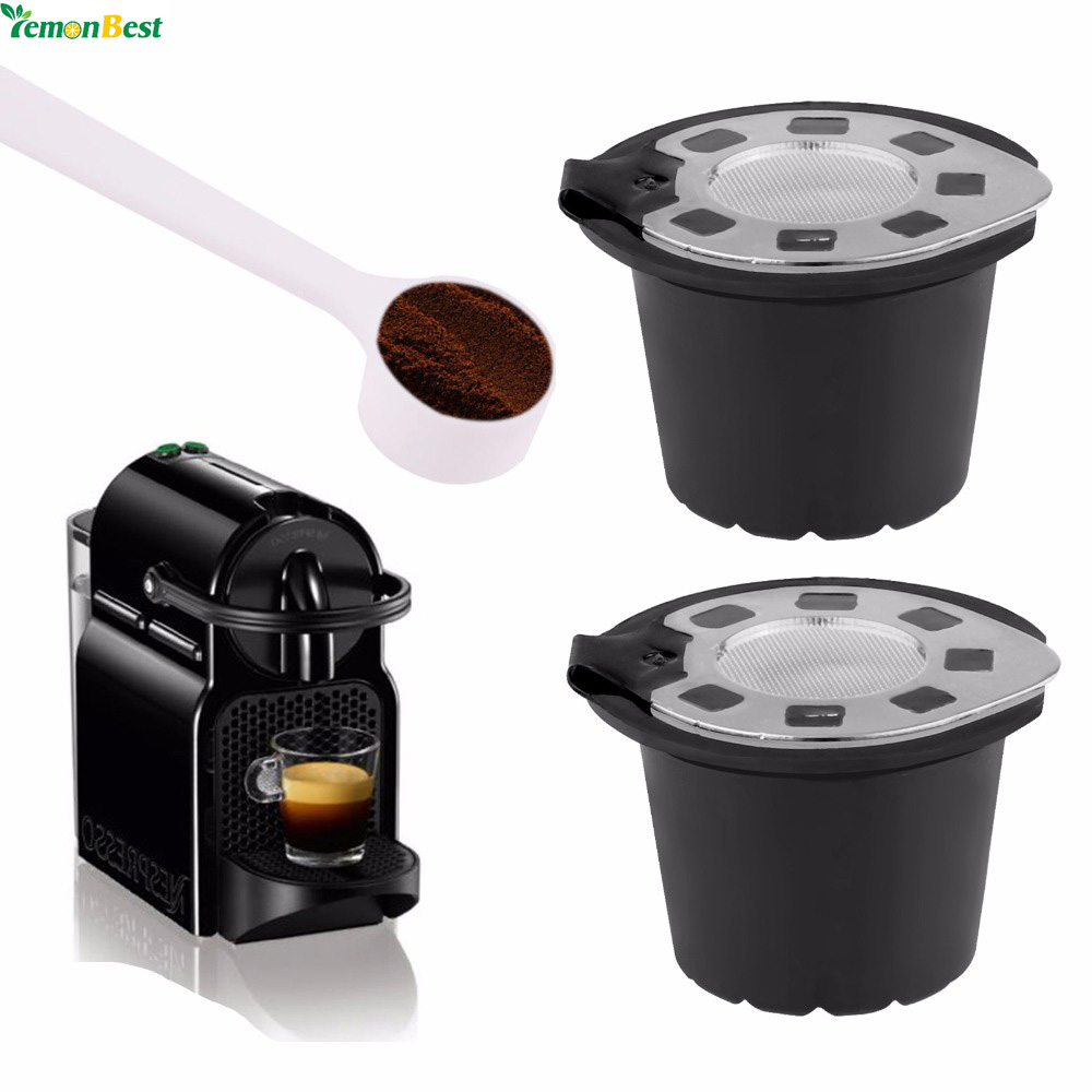 2pcs silver refillable dolce gusto coffee capsule reusable dolce gusto coffee filter cup with a. Black Bedroom Furniture Sets. Home Design Ideas