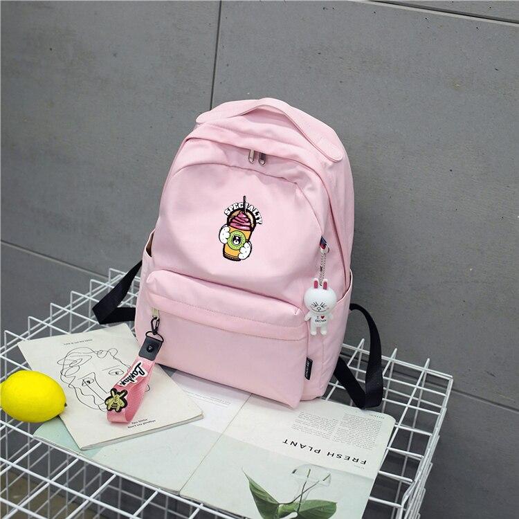 INS Women Backpack for School Teenagers Girls Korean Stylish Schoolbag Ladies Nylon Female Bookbag students pink satchel stylish metal and canvas design satchel for women