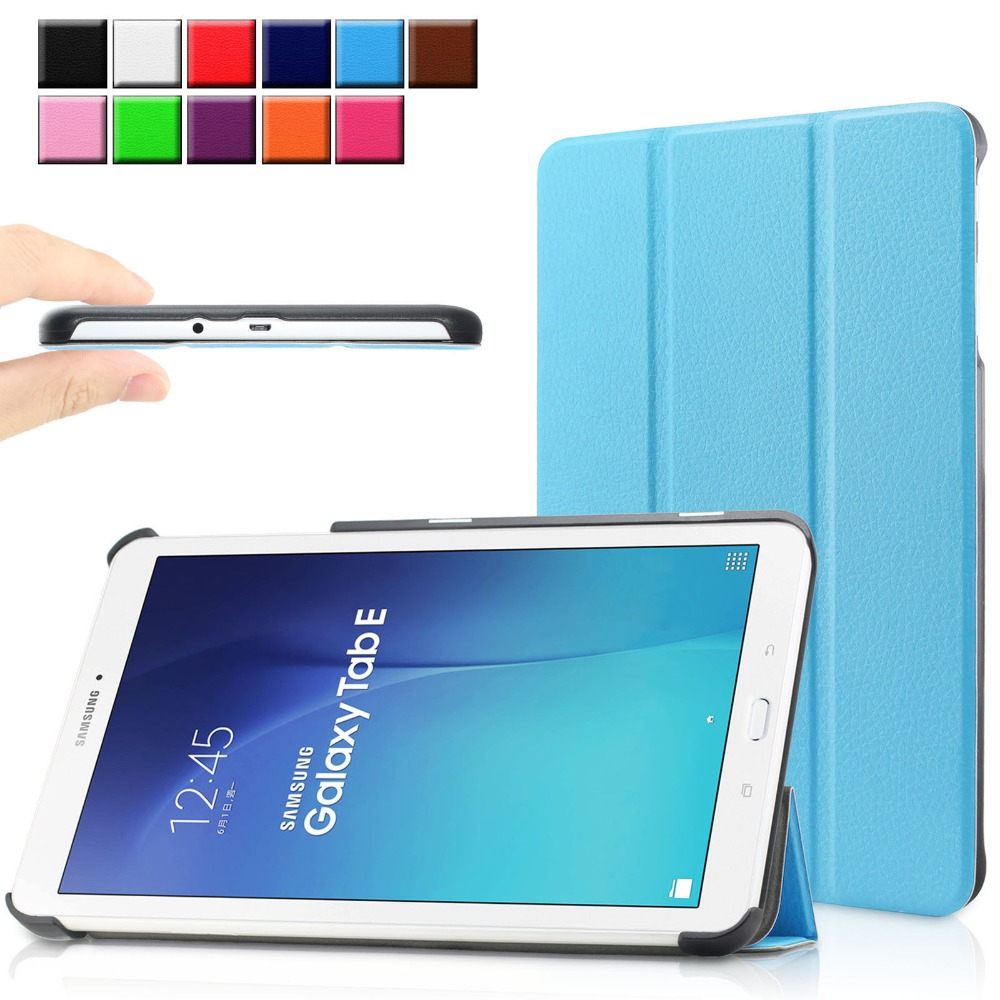 best service fcd16 64802 Protective leather cover case funda For Samsung GALAXY Tab E 9.6 Colorful  Case Smart PU Leather Cover For Samsung Tab E 9.6 T560