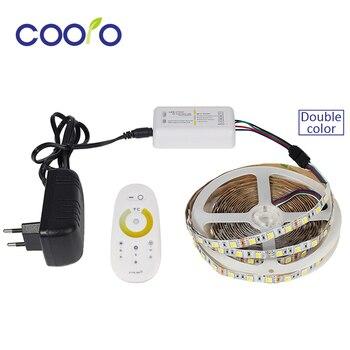 Светодиодная лента 5050 цветов с регулируемой температурой CW + WW двойной цвет + 2,4G сенсорный экран пульт дистанционного управления + 3A адаптер ...