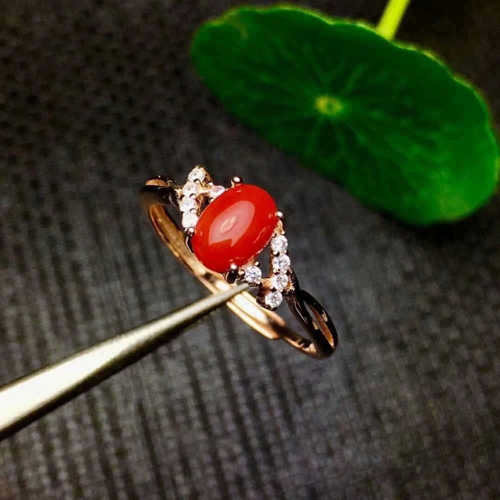 Shilovem 925 סטרלינג כסף טבעי אדום קורל טבעות נשים תכשיטים טרנדי צמח פתוח מסיבת 2018 חדש מתנה xkj050702agsh