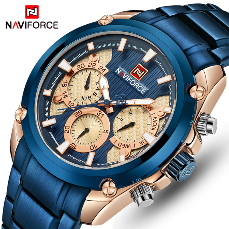 Top Brand Luxury <font><b>NAVIFORCE</b></font> Blue Gold Watch Men Fashion Sport Quartz Mens Watches Full Steel Waterproof Watch Relogio Masculino image