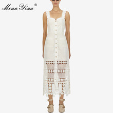 MoaaYina Summer Women White Spaghetti Strap Lace Hollow Out Sexy Party Backless Elegant Dresses Fashion Designer Runway dress все цены