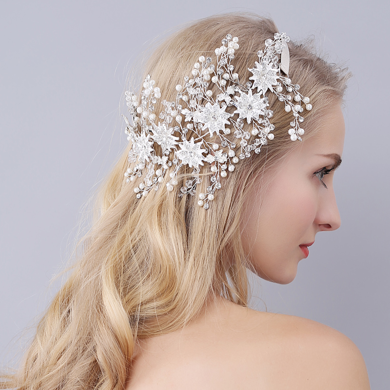 Europe and United States Bride Head Hair Ladies Wedding Dress Silver Accessories Women's Headhair Gold Flower Hairbands O946 00009 red gold bride wedding hair tiaras ancient chinese empress hair piece