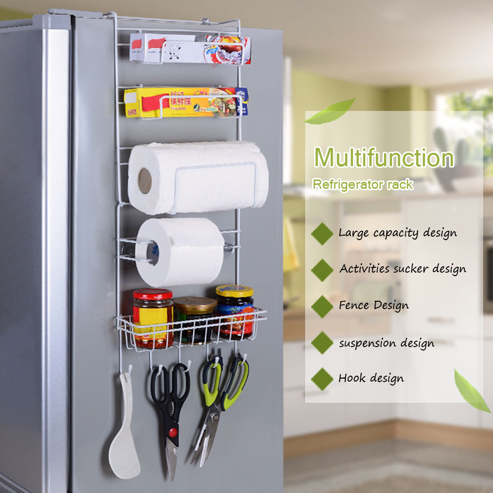 6 Tier Multi Purpose Metal Kitchen Cabinet Refrigerator Side Rack Door Metal Storage Rack Shelves Organizer