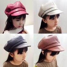 4816c84b426 Mode automne hiver coréen enfants Pu béret solide couleur octogonale casquette  enfant chapeau en plein air