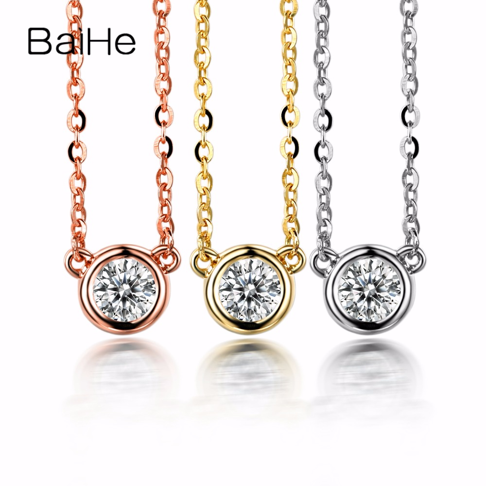 BAIHE Solid 14k Yellow Gold(AU585) H/SI 100% Natural Diamond Women Engagement Fine Necklace Gift Fashion Pendant